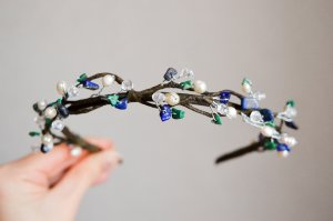 Summer wreath handmade tiara hair band twigs with natural pearls and stones