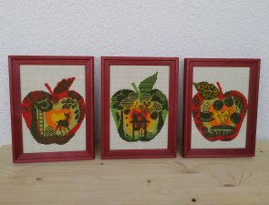 """Triptych """"Apples"""" hand embroidery cross"""