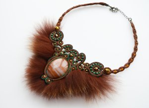 Handmade soutache necklace with natural fur and large stone
