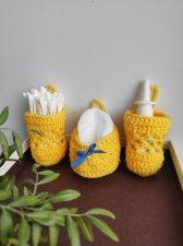 Hanging crochet basket for spices or hygiene items (cotton) ,  Kitchen spice organizer , wall basket set