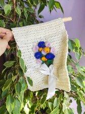 Crochet flower applique ,  Nursery knit decor front door decoration
