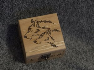 Wolf Pair themed alder wood square jevelery box/casket