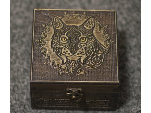 Lynx themed wooden jevelery box/casket - hidden compartment possible