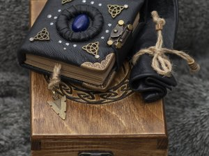 """Handmade leather craft paper girdle notebook """"Celtic Legend"""" series in wooden box"""