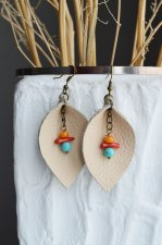 Handmade beige earrings made of genuine leatherin the form of leaves with red coral and blue howlite a gift for a girl f