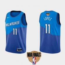 Men's Milwaukee Bucks #11 Brook Lopez Blue City 2021 Finals Jersey