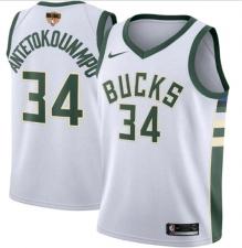 Men's Milwaukee Bucks #34 Giannis Antetokounmpo White 2021 Finals Jersey