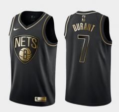 Men's Brooklyn Nets #7 Kevin Durant Black Golden Edition Jersey