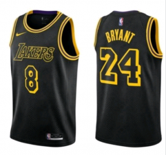 Men's Los Angeles Lakers #8&24 Kobe Bryant Black Mamba Jersey