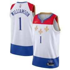 Men's New Orleans Pelicans #1 Zion Williamson White City Edition Jersey