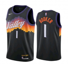 Men's Phoenix Suns #1 Devin Booker Black The City Edition Jersey