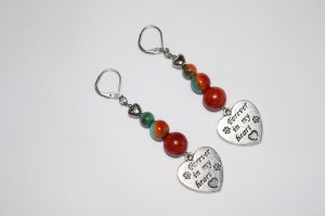 Sedona turquoise earrings with pet lover heart charms and red bamboo coral