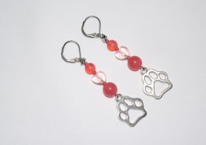 Pawprint earrings with light pink heart and dusty rose glass beads