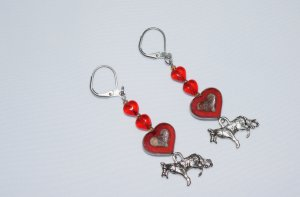 Red dog & heart earrings: GSD charm topped by red hearts