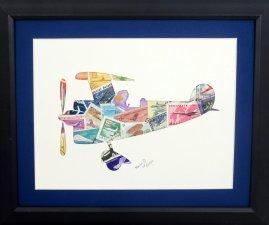 "Vintage Postage Stamp Art - ""Airplane"""