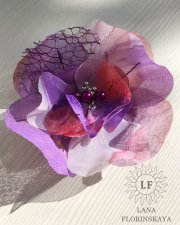 Colorfull brooch flower made of fabric