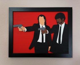 Handmade Pulp Fiction Jules and Vincent wood wall art