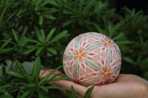 Hanging decoration Temari Christmas ball [Sakura orchid] Traditional crafts gift,home decoration,festival gift(large)