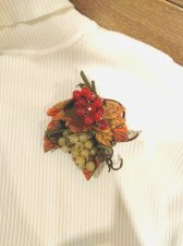 """brooch-pendant and earrings made of genuine leather """"Abundance"""""""